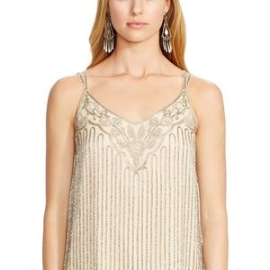 Ralph Lauren Women's Natural Beaded Silk Camisole